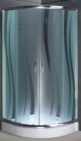 Душова кабіна півкругла 100x100x195 з піддоном 15 см 1001-R