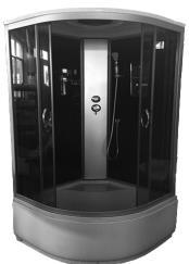 Душовий бокс 90x90x215,скло сіре 4мм, стінка чорна, піддон 42см.