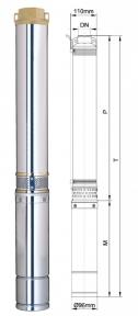 Глибинний насос Aquatica 1500Вт Hmax 76м Qmax 180л/хв (777153)