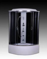 Душовий бокс 90x90x210,скло сіре 4мм, стінка чорна, піддон 42см.